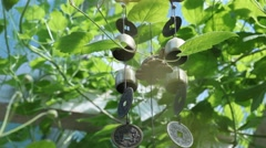 Wind chime tube mobile, blue sky background Stock Footage