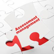 Finance concept: Assessment Management on puzzle background - stock illustration