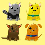 Cat and Dog characters. Cartoon styled vector illustration. Stock Illustration