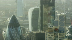 Aerial view modern architecture skyscrapers in London UK Stock Footage