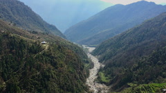 Aerial view Himalayas Nepal mountain valley river. Forest hills nature HD video. Stock Footage