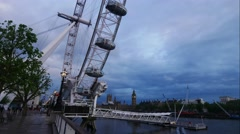 Timelapse footage of London Eye is the tallest Ferris wheel in Europe a Stock Footage