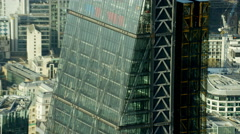 Aerial close up view of modern architecture in City of London UK - stock footage