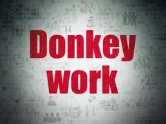 Finance concept: Donkey Work on Digital Data Paper background - stock illustration
