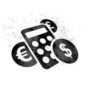 Business concept: Calculator on Digital background Stock Illustration