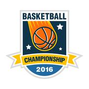 Basketball championship, tournament or team logo with a ball like space comet. Stock Illustration