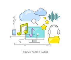 Digital music & audio concept. Thin flat line notes, cloud, headphones, mobile. Stock Illustration