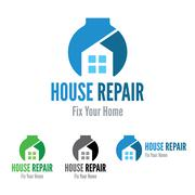 House repair company logo template. Fix your home. Wrench. - stock illustration