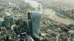 Aerial view of Walkie Talkie building in London UK Stock Footage