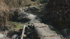 Nature mountain forest landscape HD video background. Road up stairs and bridge. Stock Footage