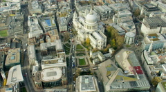 Aerial view of ancient building of St Paul's Cathedral London UK Stock Footage