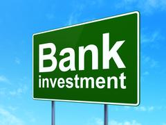 Currency concept: Bank Investment on road sign background - stock illustration
