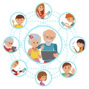 Family vector illustration flat style people faces online social media Stock Illustration