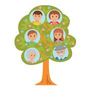 Cartoon generation family tree in flat style grandparents parents and children Stock Illustration