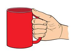 Template of the gesture of the hand which holds the cup. Vector illustration Stock Illustration