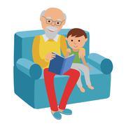 Happy senior man sitting on the sofa read book for his grandson. - stock illustration
