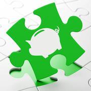 Banking concept: Money Box on puzzle background - stock illustration