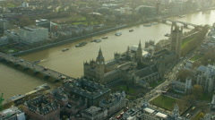 Aerial view of the Houses of Parliament London England Stock Footage
