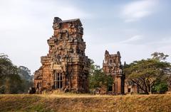 SIEM REAP. Kleangi and Prasat Suor Prat in Angkor Thom. Stock Photos