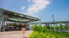 New york brooklyn bridge park day merry-go-round panorama 4k time lapse usa Stock Footage