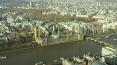 Aerial cityscape view over City of London UK Stock Footage