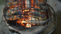Grilled shrimp (Giant freshwater prawn) - stock footage