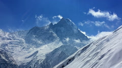 Annapurna nature HD video nature background. Snow valley mountain peak clear sky Stock Footage
