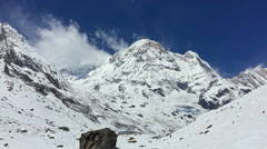 Annapurna nature HD video background. Snow valley mountain peak clear sky Stock Footage