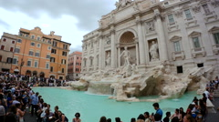 Rome Italy 17 June 2016. Time lapse of tourists at renovated Fontana di Trevi. - stock footage