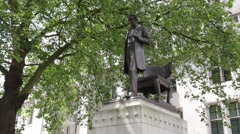 Abraham Lincoln Statue on the Parliament Square Stock Footage