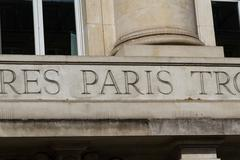 Paris engraved in stone sign Stock Photos
