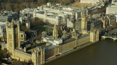 Aerial view of Big Ben and Houses of Parliament London UK Stock Footage