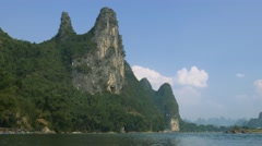 Beautiful Karst mountains and limestone peaks of Li river in China Stock Footage