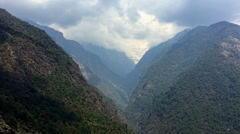 Himalayas Nepal nature HD aerial video background. Forest valley foggy mountain Stock Footage