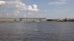 The Hermitage museum buildings panorame viewed from the Neva River Stock Footage