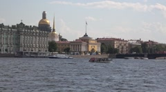 The Palace Bridge, the Hermitage, the Admiralty and the St. Isaac's cathedral Stock Footage