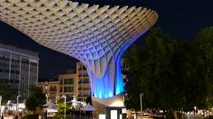 Metropol Parasol, Las Setas de la Encarnacion, plaza mayor - stock footage