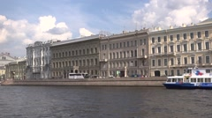 The Neva River embankments classic view with boat piers Stock Footage