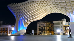 Metropol Parasol, skate boarding under the parasol Stock Footage