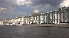 The Hermitage Museum classic panorame with piers from a boat Stock Footage