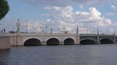 The Thoitsky (Saint Trinity) Bridge's approaching from the Kronverksky Canal Stock Footage
