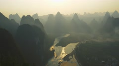 Landscape of Guilin in the early morning, Li River and Karst mountains. Stock Footage