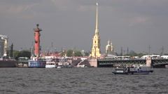The Palace Bridge and the Peter & Paul's cathedral as seen from the Neva River Stock Footage
