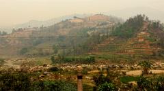 Going on Asian Nepal farming village HD video. Farm fields mountain growing Stock Footage