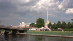 The Peter & Paul's Fortress walls and the Cathedral view from Kronverksky Canal Stock Footage