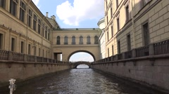 Saint Petersburg - the Winter Channel with the Hermitage Bridge and Gallery Stock Footage