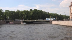 St Panteleymon's Bridge across Fontanka River adjacent to Summer Gardens Stock Footage