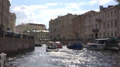 The Moyka River embankments. Heavy boat traffic along the river Stock Footage