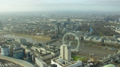 Aerial view of the London Eye and River Thames UK Stock Footage