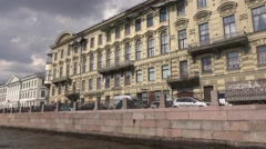 Classic architecture houses along the right bank of the Fontanka River Stock Footage